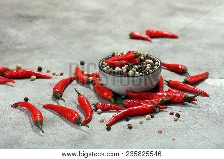 Red Hot Bird Chili Pepper With Pepper Corns