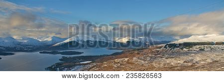 Loch Lomond In The Scottish Highlands On A Winters Day Viewed From The Summit Of Conic Hill Near Bal