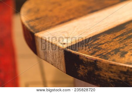 Details Of Woodgrain And Finish In Handmade Table.