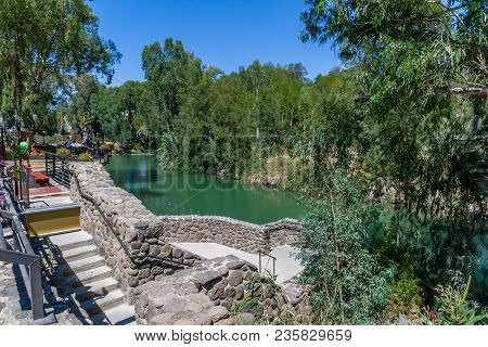 Jordan River, Israel - June 24: Shore Of Jordan River, Yardenit Baptismal Site In The Galilee On The