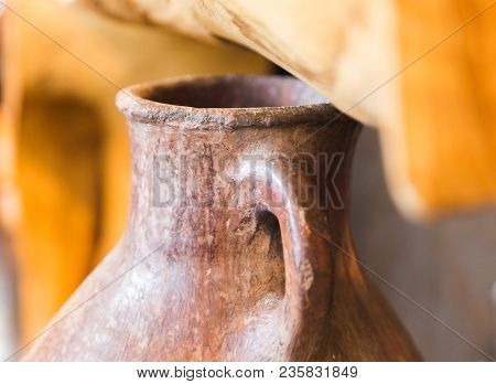 Antique, Decorative Clay Pitcher Made By Hand. Also Known As Jar Or Vase.