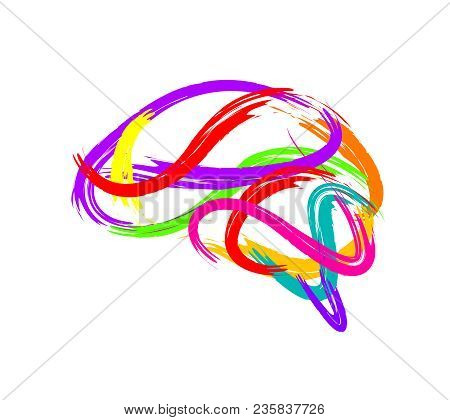 Abstract Brain Made Of Paint Stroke As Creative Idea Symbol. Icon Design, Illustration Isolated On W