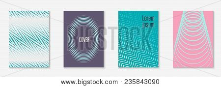 Minimal Trendy Cover Template Set. Futuristic Layout With Halftones. Geometric Minimal Cover Templat