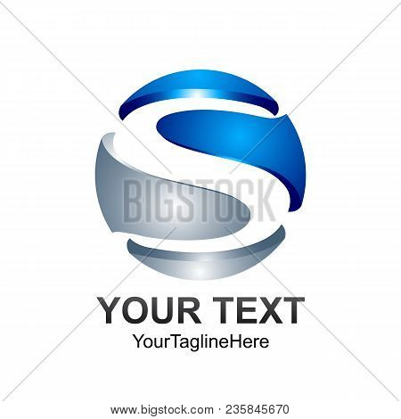 Letter S Logo Design Template Colored Silver Blue 3d Circle Design For Business And Company Identity