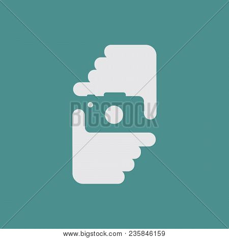 Clever Negative Space Design. Vector Logo Icon With Photographer Hands And Camera Background
