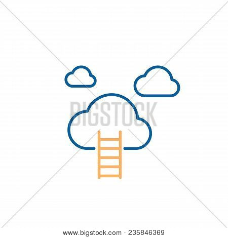 Stairway To Heaven Icon. Ladder Reaching The Clouds. Vector Trendy Thin Line Icon Illustration Desig
