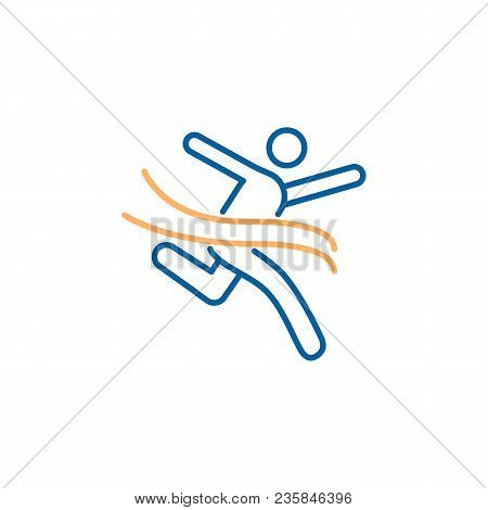 Character Crossing The Finish Line. Vector Trendy Thin Line Icon Illustration Design For Sports, Bus