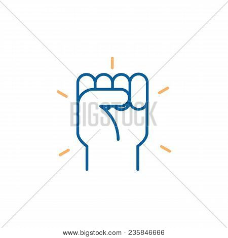 Hand Closed. Fist Icon. Vector Trendy Thin Line Icon Illustration Design For Protests, Strength, Suc