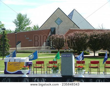 Defiance College Graduation Stage Setup With Pilgrim Library In The Background, Defiance, Oh May 7,
