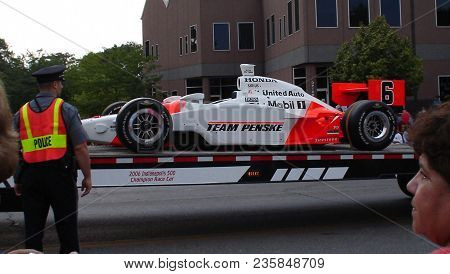 The Indycar Race Car Sam Hornish Jr. Drove When Winning The Indianapolis 500 In A Parade, Defiance,