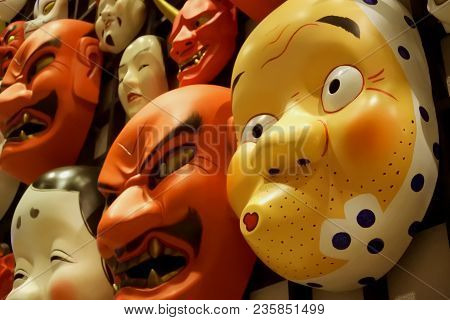 Japanese Cartoon Mask With Both Demons And Clowns.