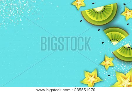 Slice Of Kiwi And Carambola. Top View. Kiwi And Starfruit Super Summer In Paper Cut Style. Origami J