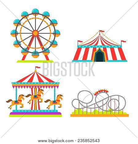 Amusement Park Attractions Rides Vector Illustration. Circus Tent, Merry-go-round Horseabout Carouse