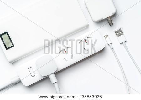 Socket Plug Electric Power Bank And Wire White Color Isolate. Save Energy And Reduce Energy Efficien