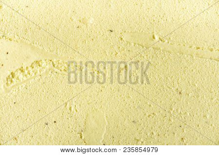 Scooped Vanilla Ice Cream Background. Summer Food Concept, Copy Space, Top View. Sweet Yogurt Desser