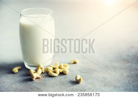 Vegan Cashew Milk In Glass With Cashews Nuts On Grey Concrete Background, Copy Space. Vegetarian Alt