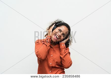 Woman having fun with listening to music