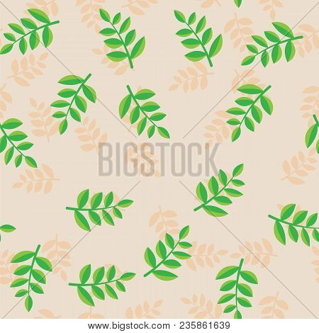 Pattern Plant Branches With Green Leaves On Beige Background. Beige And Green Plant Branches With Fo