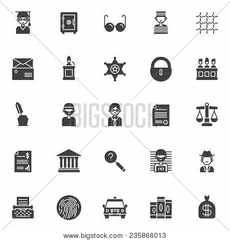 Justice Vector Icons Set, Modern Solid Symbol Collection, Filled Style Pictogram Pack. Signs Logo Il