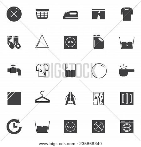 Laundry Vector Icons Set, Modern Solid Symbol Collection, Filled Style Pictogram Pack. Signs, Logo I