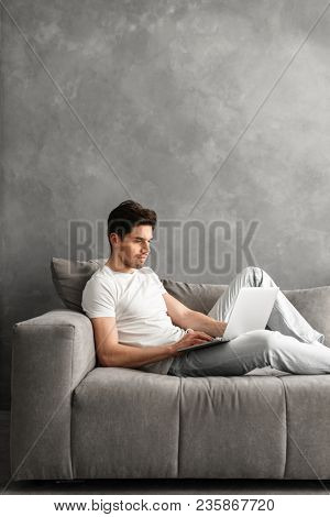 Attractive serious man 30s in basic clothing using laptop while lying on couch in gray interior