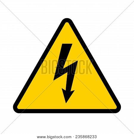 High Voltage Contamination Symbol. Yellow Triangular Warning Sign. Caution, Risk Of Electric Shock.