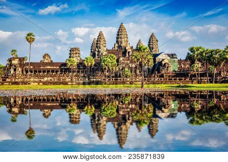Angkor Wat temple - Cambodia iconic landmark with reflection in water