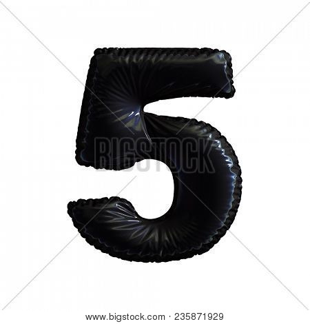 Number 5 (five) of black balloons on a white background. 3d rendering
