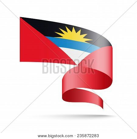 Antigua And Barbuda Flag In The Form Of Wave Ribbon. Vector Illustration On White Background.