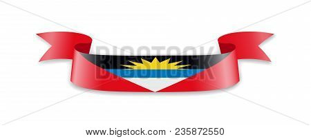 Antigua And Barbuda Flag In The Form Of Wave Ribbon. Vector Illustration.