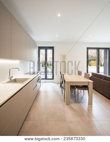 Open space with elegant kitchen and living room. Nobody inside