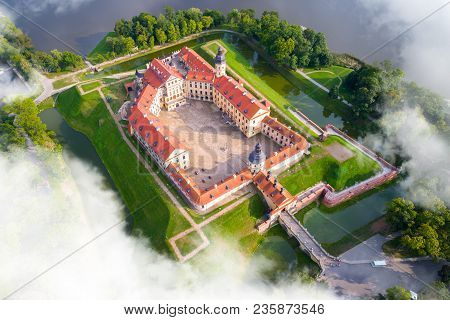Medieval Castle In Nesvizh, Minsk Region, Republic Of Belarus.