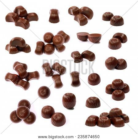 Chocolate candies on a white background. Chocolate candy