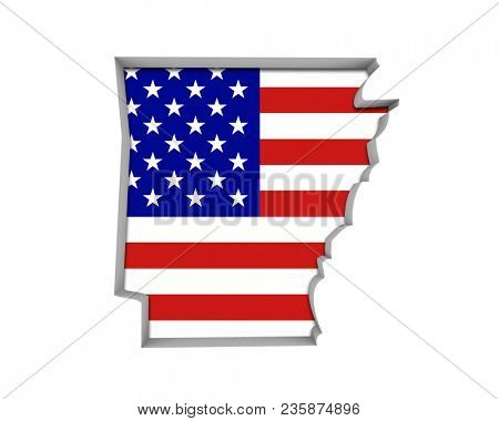 Arkansas AR USA Flag Stars Stripes Map 3d Illustration