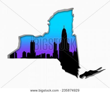 New York NY Skyline City Metropolitan Area Nightlife 3d Illustration