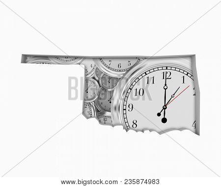 Oklahoma OK Clock Time Passing Forward Future 3d Illustration