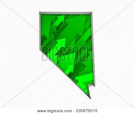 Nevada NV Arrows Map Growth Increase On Rise 3d Illustration