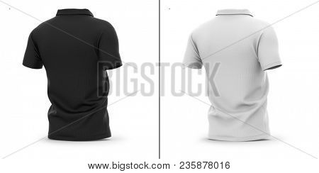 Men's polo shirt with short sleeve. Half-back view. 3d rendering. Clipping paths included: whole object, sleeve, collar. Highlights and shadows template mock-up.
