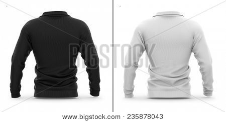 Men's zip neck pullover with raglan sleeves. Back view. 3d rendering. Clipping paths included: whole object, sleeve, collar. Highlights and shadows template mock-up.