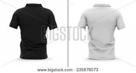 Men's polo shirt with short sleeve. Back view. 3d rendering. Clipping paths included: whole object, sleeve, collar. Highlights and shadows template mock-up.