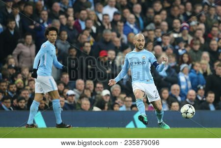 MANCHESTER, ENGLAND - APRIL 10: David Silva  during the Champions League quarter final match between Manchester City and Liverpool at the Etihad Stadium on April 10, 2018