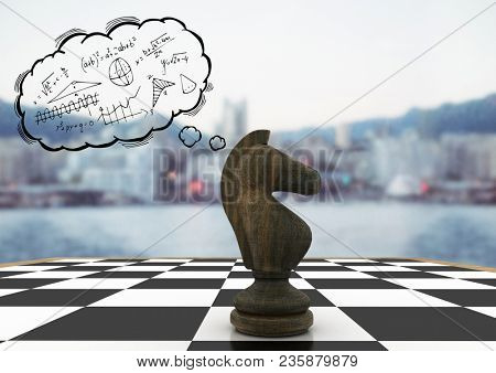 Chess piece and thought cloud with math doodles against blurry skyline