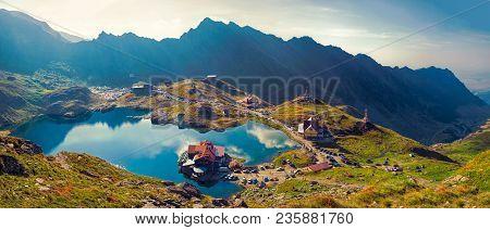 Sibiu County, Romania - August 29, 2015. Transfagarasan Balea Glacier Lake, Panoramic View. Balea La