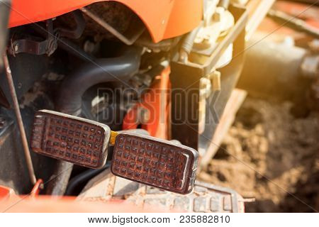 Brake And Accelerator Pedal For Tractor. Worker Foot.