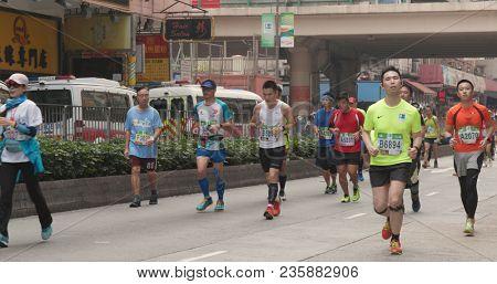 Causeway Bay, Hong Kong, 21 January 2018:- Hong Kong Standard chartered marathon