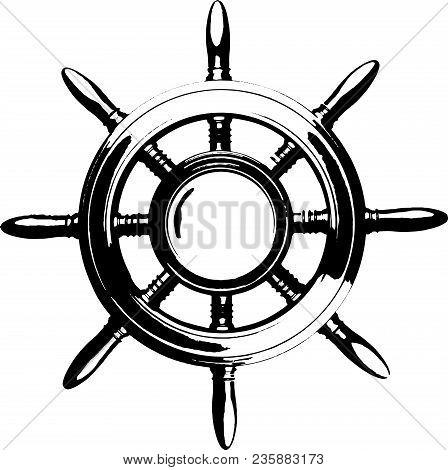 Vintage Marine Steering Wheel Black And White Isolated Engrave Eps 10 Vector Illustration
