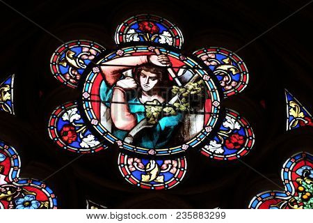 PARIS, FRANCE - JANUARY 09: Angel, stained glass window from Saint Germain-l'Auxerrois church in Paris, France on January 09, 2018.