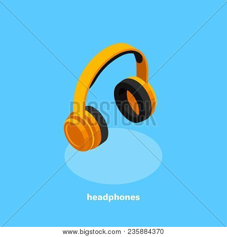 Orange Headphones, Isometric Icon, Illustration, Headset, Illustration, Headset