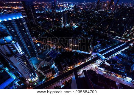 Abstract Night Cityscpae Perspective - Can Use To Display Or Montage On Product