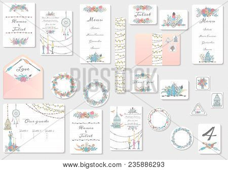 Watercolor Wedding Invitation Cards Suite With Tender Flowers And Leaves. Hand Drawn Pastel Flowers